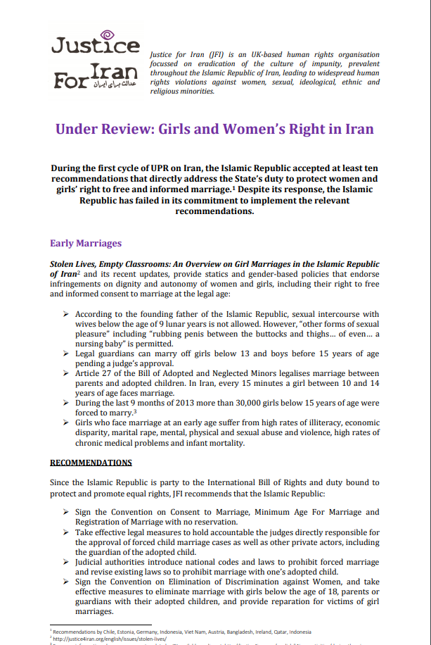 Under Review: Girls and Women's Right in Iran