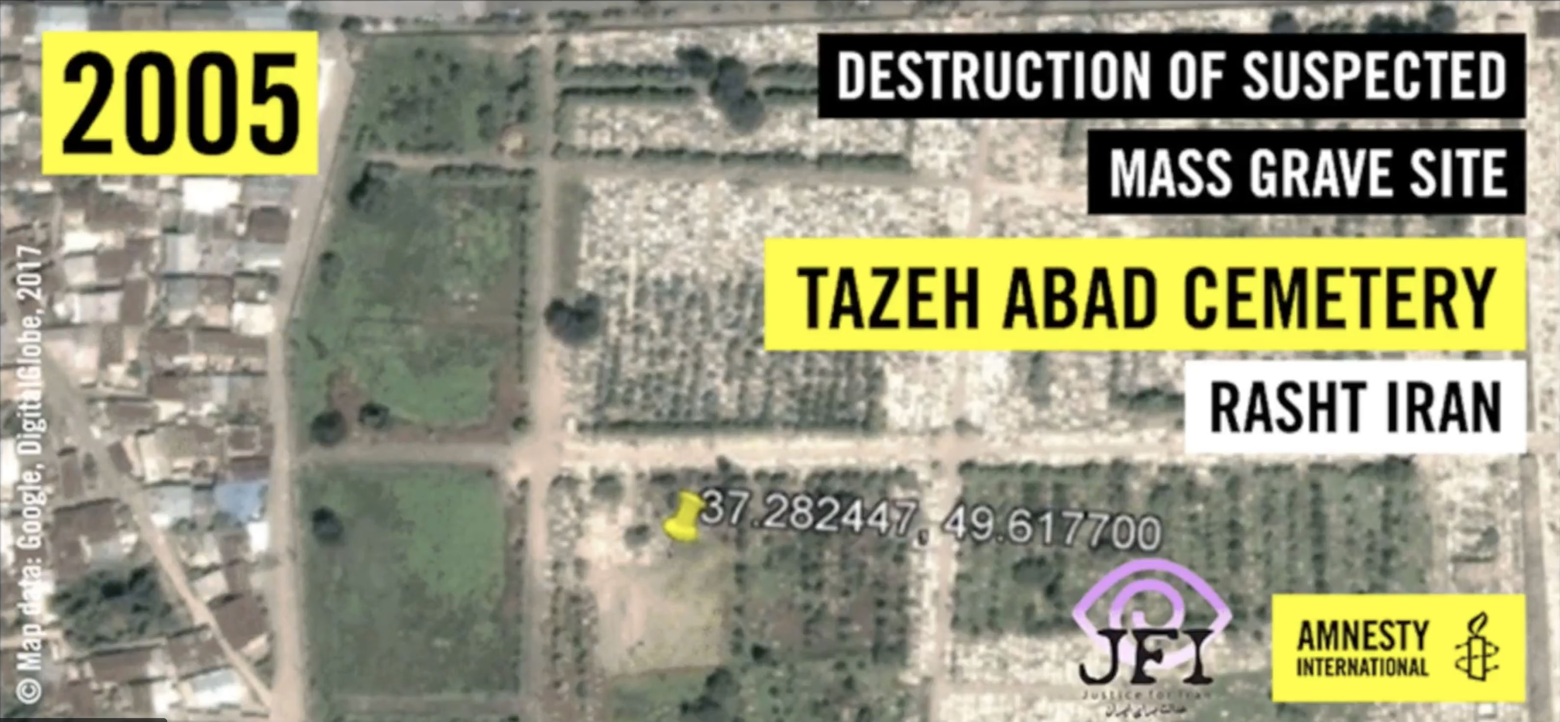 Satellite imagery of the destruction of mass graves